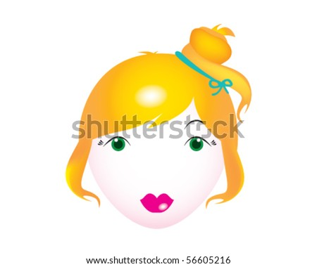 stock vector : Vector girl face. Beautiful young lady with long blond hair,