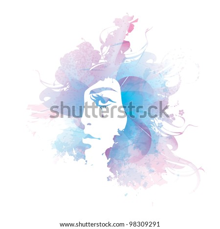 vector girl face watercolor