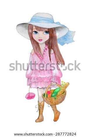 vector girl girl with basket