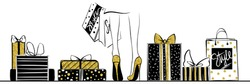 Vector girl in gold high heels surrounded by shopping bags, gift boxes.Fashion illustration.Female legs in shoes.Glitter Design for sale,discount, advertising, store.Vogue style.Women with packages.