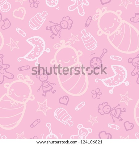 Vector girl pink seamless pattern background with hand drawn elements.