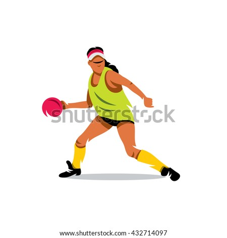 vector girl playing dodge ball