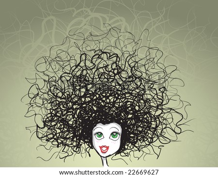 stock vector : vector girl portrait. crazy hairstyle.