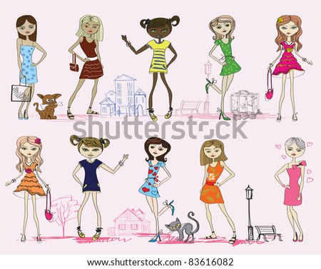vector girl set