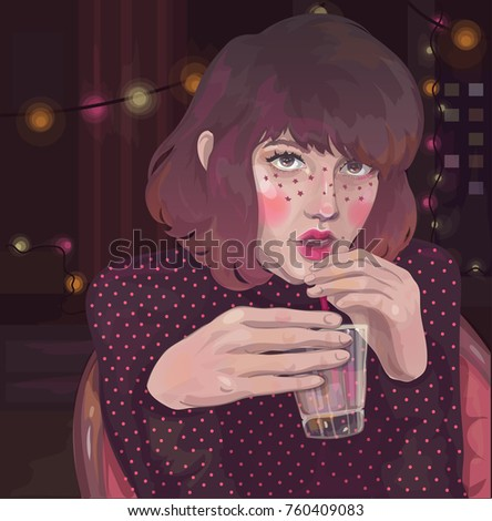 vector girl with a glass at a