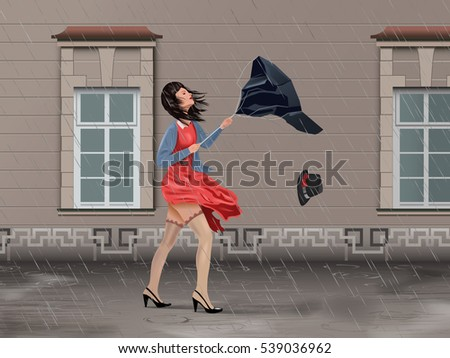Vector Girl With Broken Umbrella On the Street In Windy Rainy Day, Eps10 Vector, Gradient Mesh and Transparency Used
