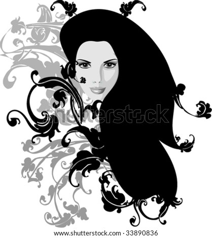 vector girl with floral