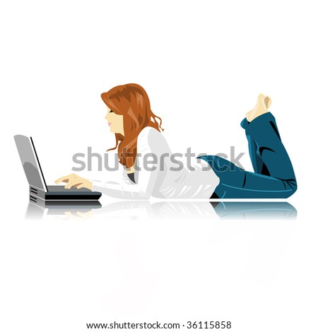vector girl with laptop