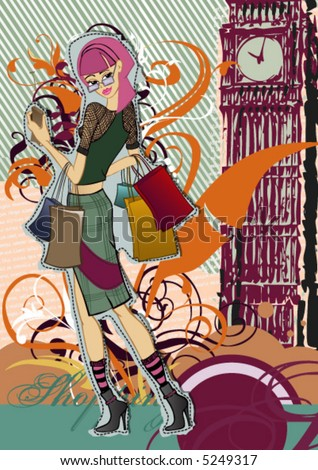 Vector girl with shopping hands in his arms and big ben floral background