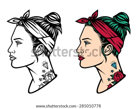 vector girl with tattoos