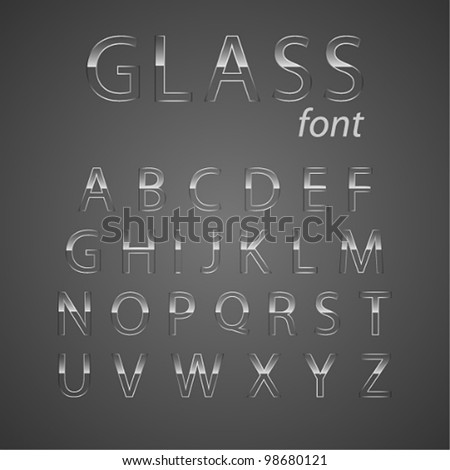Vector glass alphabet.