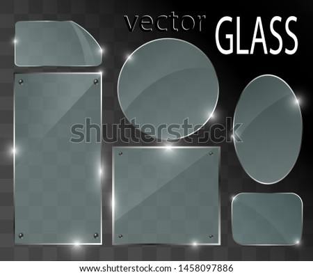 Vector glass banners on transparent background.Empty transparent glass frame. Clean vector background.