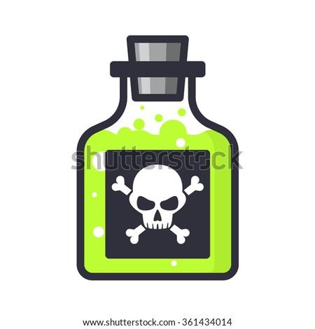 vector glass bottle of poison