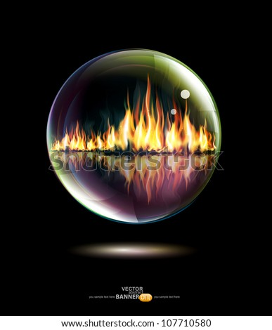 Vector Glass bowl with a flame inside on a black background - stock vector
