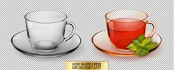Vector glass cup. Transparent glass cup with tea.