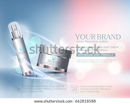 Vector glass jar.Element for modern design,advertising for sales, template cosmetic face cream, body.Realistic 3d illustration.Banner, flyer, brochure for the promotion of products for beauty.