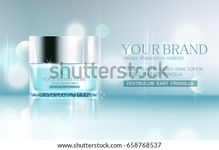 Vector glass jar on bokeh background. Element for modern design, advertising for sales, template cosmetic face cream, body. Realistic 3d illustration
