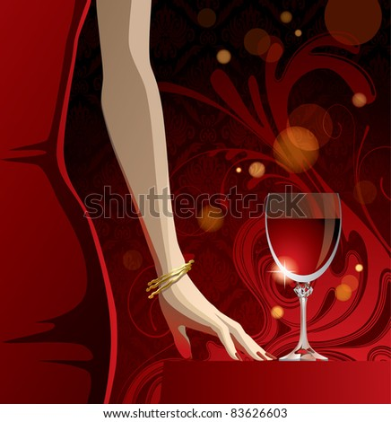 Vector glass of red wine and woman's hand with gold bangles