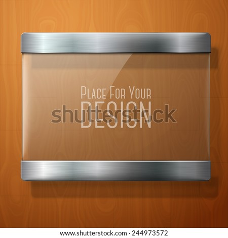 vector glass plate with metal