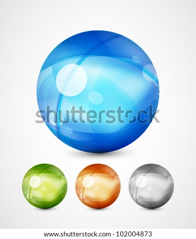 Vector glass spheres - stock vector