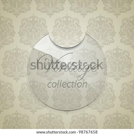 Vector glass sticker on seamless damask pattern background.