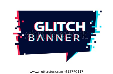 vector glitch banner with text