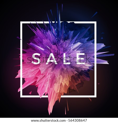 Stock Photo Vector glitch explosion. Beautiful modern art with white frame and SALE label.
