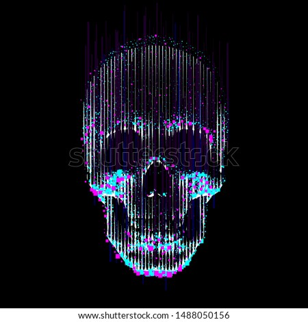 Vector glitch line- art skull.  Human skull front view, enlightened from under, made by vertical lines and color particles and pixels.