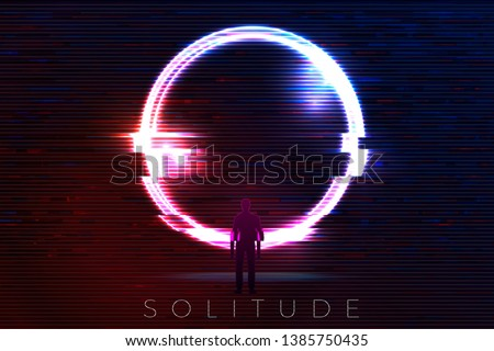 Vector glitched banner, poster design template in futurism style, with bright circle over the mountains. With a man standing in front of it, solitude travel concept.