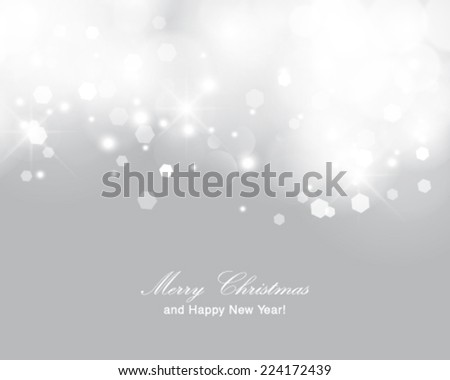 Vector glittery lights silver abstract Christmas background.