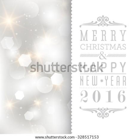 Vector glittery lights silver abstract Christmas background. Holiday invitation card.