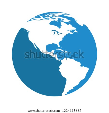 vector global Earth map isolated icon - international world map illustrationsign . geography sign symbol