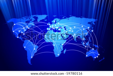 vector global network connection concept - stock vector