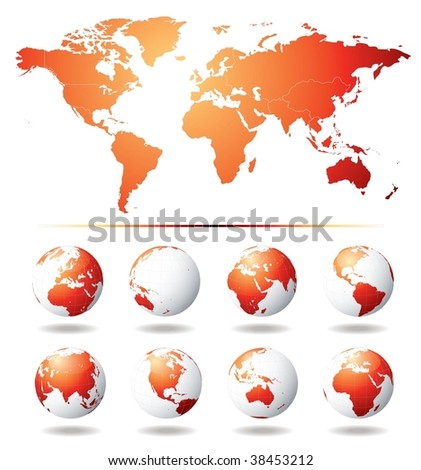 Vector Globe and World Map