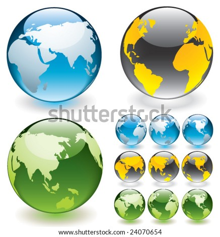 Vector globe aqua buttons. Fully editable.