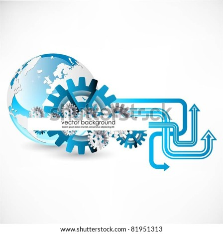 vector globe background with arrows and gears