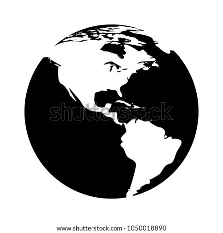 vector globe earth icon - map world illustration ball - network symbol