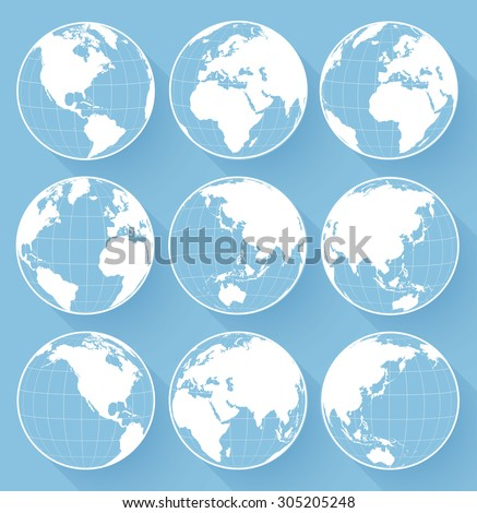 Vector globe earth icons