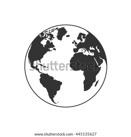 Vector globe icon of the world.