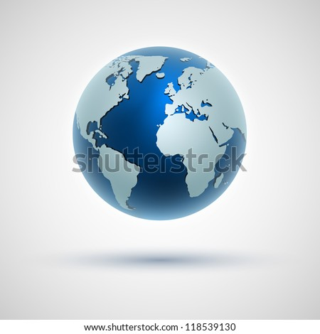 Vector globe icon of the world. Go to my portfolio, there are other, higher-quality version of this illustration. - stock vector