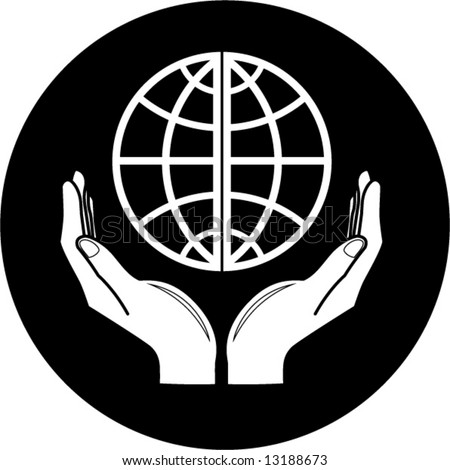 stock vector : Vector globe in hands icon. Black and white. Simply change.