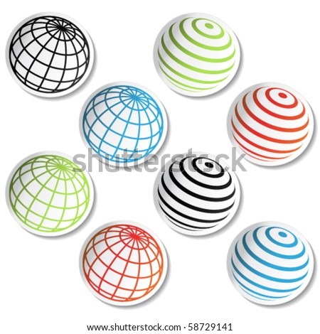 Vector globe stickers