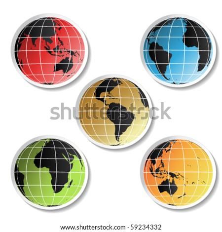 vector globe stickers