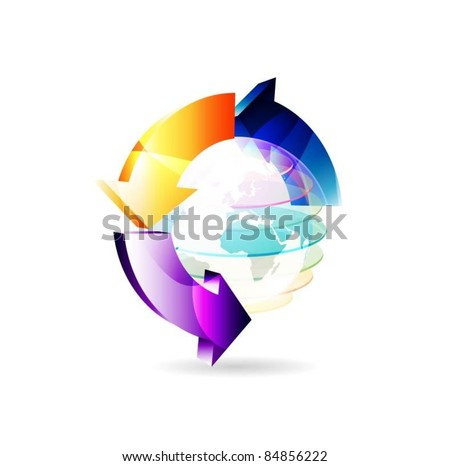 vector globe surface with 3d arrows