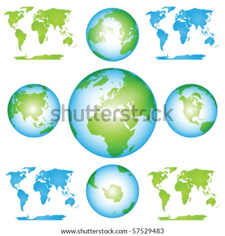 Vector Globes and Maps Collection Clip art