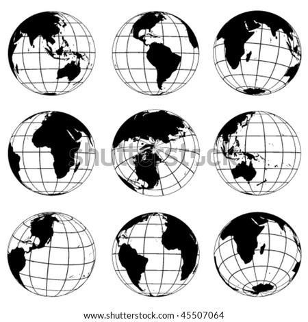 Vector globes - various turn