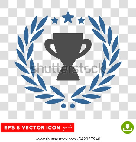 Vector Glory Cup Laurel Wreath EPS vector pictogram. Illustration style is flat iconic bicolor cobalt and gray symbol on a transparent background.