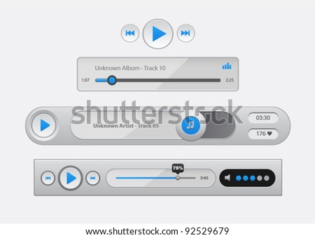 Vector glossy audio players with different control navigation panel