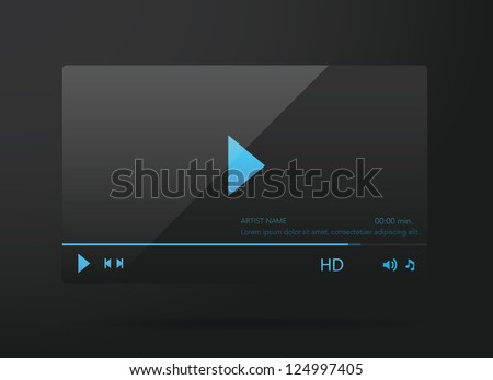 Vector glossy audio video player