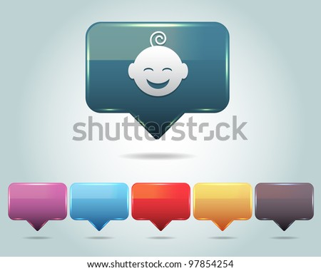 Vector Glossy Baby Icon/Button and multicolored